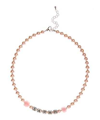 (Personalized Name Pink Czech Glass Pearl Infant Keepsake Necklace (NFPNP) )