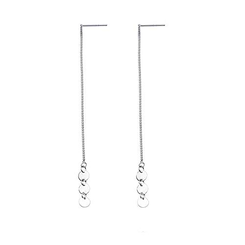ANDANTINO S925 Sterling Silver Green Emerald Threader Earrings for Women/18K Rose Gold Plated Wave Curve Twist Ear Lines- Jewelry Gift for Girls (Circle Disc Thread) ()