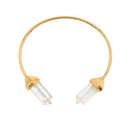 Wrapped Crystal Bracelet (Hanloud Gold Artificial Gemstone Cuff Bangle Bracelet Clear Quartz Wrap Bracelet Bridesmaid Gift Bracelet)