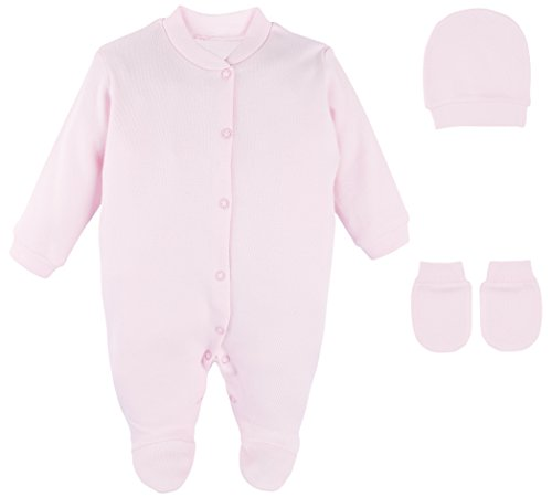 ece Solid Color Soft Cotton Footie, Hat and Mittens Layette Gift Set 0-3 Pink ()