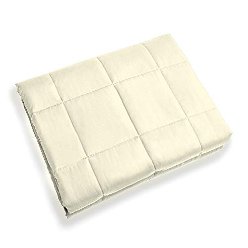 Ourea Weighted Blanket Adults (20 pounds, 60 x 80, Beige, Queen) Breathable Cotton with Glass Beads