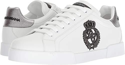 cad426f24a1 Galleon - Dolce   Gabbana Men s Embroidered Crown Sneaker White Silver 41 M  EU