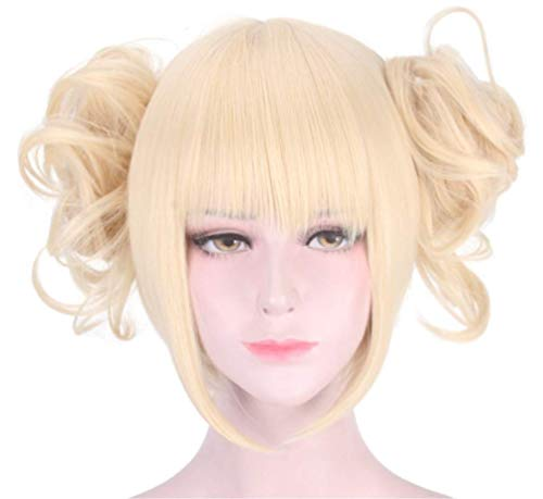 Mix Vogue Cosplay Wig Short Blonde Ponytail Synthetic Anime Wig for My Hero Academia Himiko Toga -