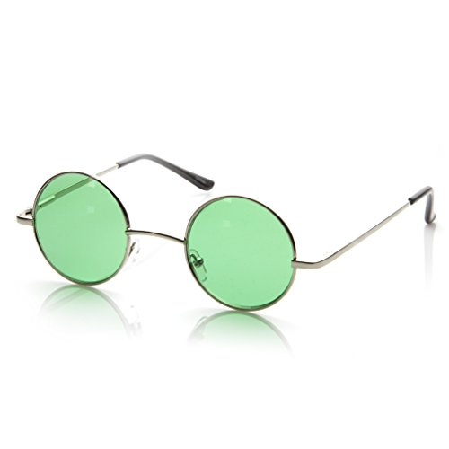 MLC EYEWEAR Small Metal Round Circle Color Tint Lennon Style Sunglasses (Silver, - Green Glasses