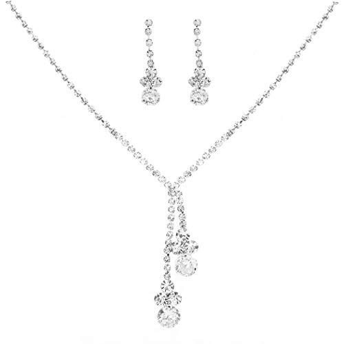 Brishow Wedding Rhinestone Necklace Earrings product image