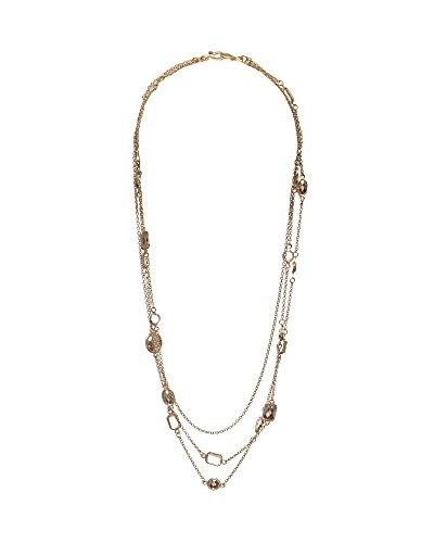 Elegant Triple Strand goldtone Necklace With Gemstones of Assorted sizes & Shapes