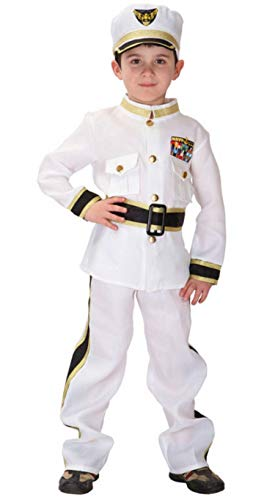 Brcus Boys Navy Admiral Halloween Cosplay Costume Police Uniform Role Play Dress up X-Large -
