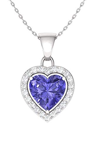 Diamondere Natural and Certified Tanzanite and Diamond Heart Necklace in 14k White Gold   0.51 Carat SI1-SI2 Quality Necklace with Chain