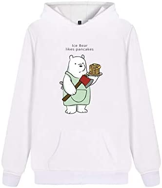Fkjhkerk We Bare Bears - Sudadera con capucha para hombre y mujer, cuello redondo, manga corta, estampada