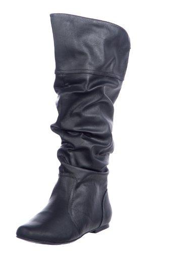 SODA Women's Zuluu Slouchy Faux Leather Knee HIgh Flats Boots - stylishcombatboots.com