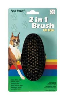 Four Paws 2in 1 Brush - 2 In 1 Oval Brush w/Brass Wire Ctr