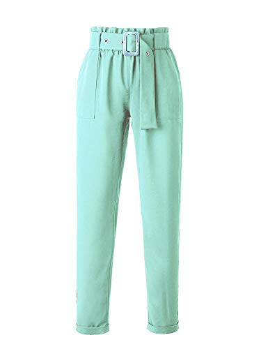 Gooket Women's High Waisted Slim Casual Cropped Belted Paperbag Pants Trouser Lake Green Size XXL