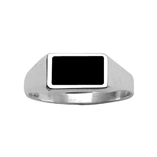 Sterling Silver Black Onyx Rectangle Signet Ring - Size 7 ()