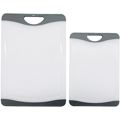 Cutting Board Set - 2 Dishwasher Safe Poly Plastic Kitchen Boards - Beats Wood, Glass, Bamboo -Grey