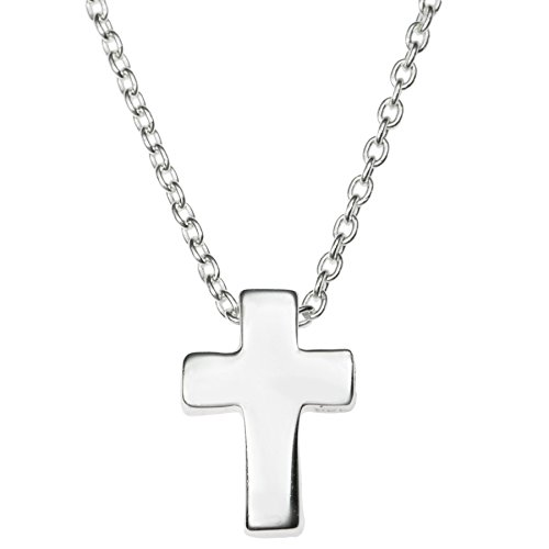 Sterling Silver Christian Cross Faith Dangle Charm Pendant Rolo Chain
