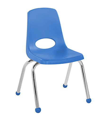 ECR4Kids 14'' School Stack Chair, Chrome Legs with Ball Glides, Blue (6-Pack) by ECR4Kids (Image #1)