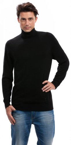 Citizen Cashmere Mens Turtleneck Sweater - 100% Cashmere, Blk M 42 104-02-02