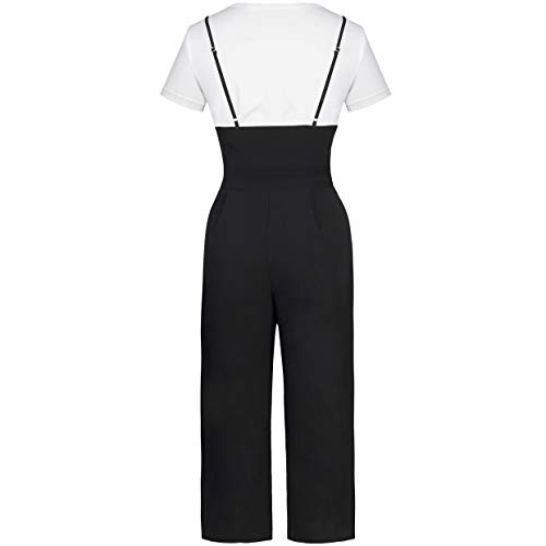 BELONGSCI Women 2 Pieces Outfits Suit Sweet & Cute T-Shirt Top + Strapless Gallus Wide Leg Jumpsuit Pocketed Ankle Overalls by BELONGSCI (Image #4)