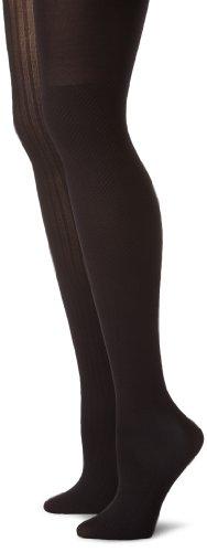 Calvin Klein Women's 2 Pack Texture Opaque Tights, Black, A/B