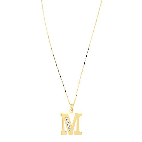 14k Yellow Gold Large Cubic Zirconia Initial Pendant Necklace, M, 13 Inches