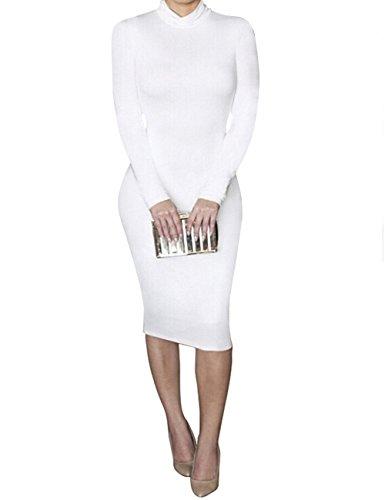 Dora Bridal Women's Turtleneck Long Sleeve Slim Bodycon Tight Dress,White,X-Large