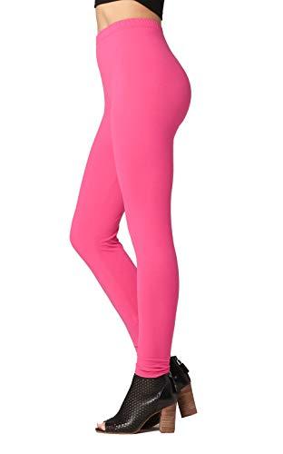 - Premium Ultra Soft High Waist Leggings for Women - SL1 Fuchsia Pink - Small/Medium