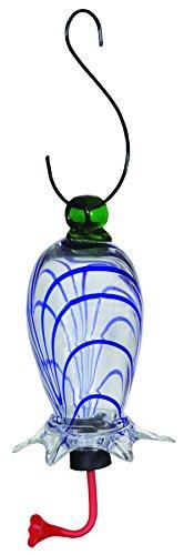 Gardman BA05713 Clear Cylinder Blue Swirl Glass Hummingbird Feeder, 3.5