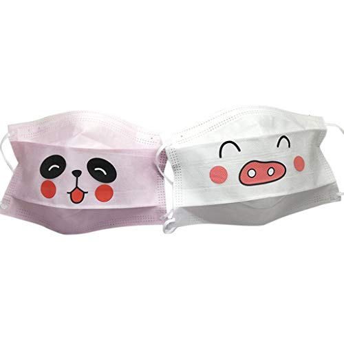 Simdoc 1Pc Disposable Lovely Cartoon Funny Animal Emoji Mouth Mask Cute Pig Panda Mouth Face Mask,3 Layer Non-Woven Fabric Medical Anti-dust Mouth-Muffle,Random Style