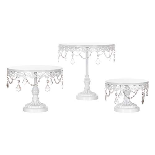 Sophia Cake Stand Set of 3, Round Metal Plate Dessert Cupcake Pedestal Wedding Party Display with Glass Crystals - Tower Cheese