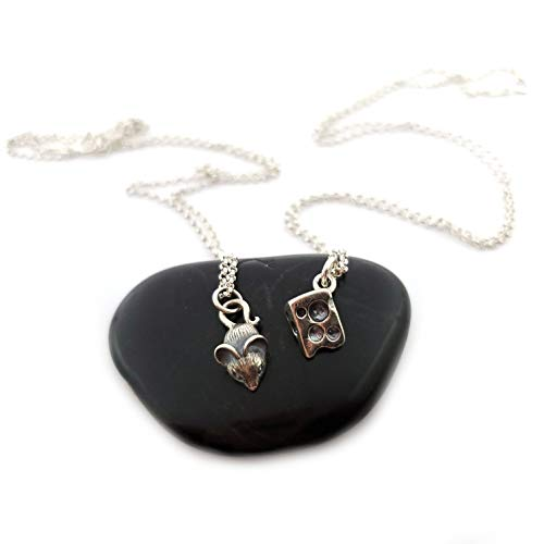 Cheese and Mouse Necklace - Sterling Silver Jewelry - Bestfriend Set ()