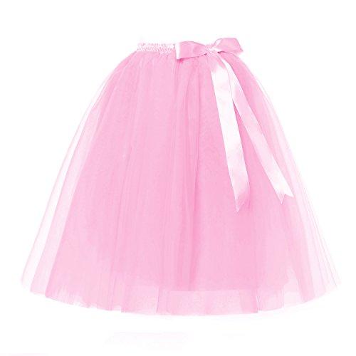 LSCY Femmes 7 Couches Tulle Midi/Genou Longueur Jupe Ruban Bowknot Tutu Jupes Princesse Jupon 5 Tailles Beaucoup de Couleurs Rose