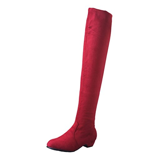 HCFKJ Shoes Women Fashion Boots Heels Knee Ladies Boots Flat Shoes High Leg Suede Long Boots Winter Red for Girls Red ujNZ7unc