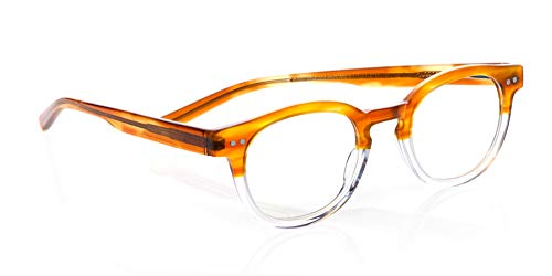 eyebobs Waylaid Unisex Premium Readers, Amber and Clear Crystal Front with Amber Temples, 3.50 Magnification (Amber Crystal Clear)