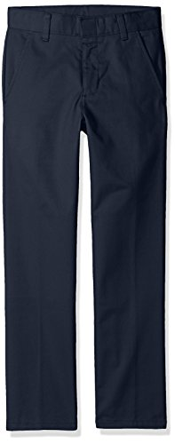Nautica Big Boys' Uniform Flat Front Pant, Navy, Large/14 (Boys School Uniforms Pants)