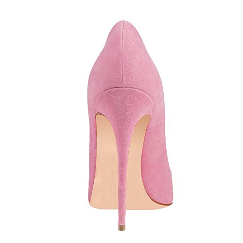 Pumps For Women Ladies Thin Vocosi Faux Suede Toe Pointy Pink High Shoes Party Dress Heels Women's tqxXrz7wEX