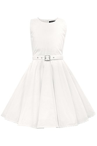 Black Butterfly Clothing BlackButterfly Kids 'Audrey' Vintage Clarity 50's Children's Girls Dress (Ivory, 11-12 yrs)