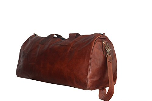 LUST Unisex Handmade Real Leather Duffel Bag Weekend Bag Tan Brown Duffle Bag