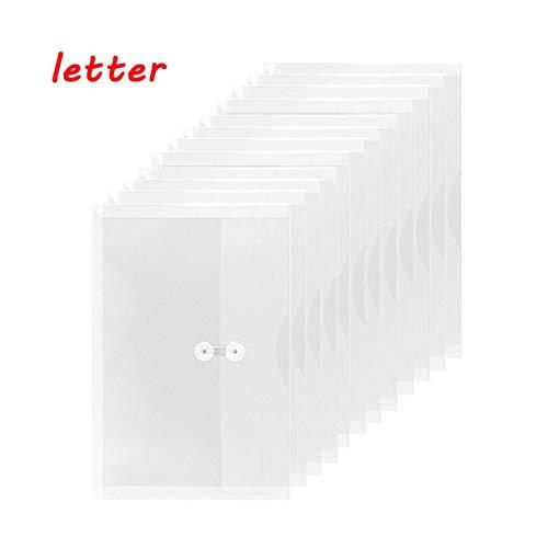Envelope Side Opening Letter - TIENO PVC String Envelopes Letter Size with Expandable Gusset Clear Side Loading Folder Pocket Pack of 12 White