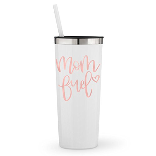 Mom Fuel in Rose Gold Vinyl on a 22oz Stainless Steel Tumble