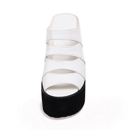 Shoes White Mules Sandals Heel Summer Women's Wedges TAOFFEN TqfPnO