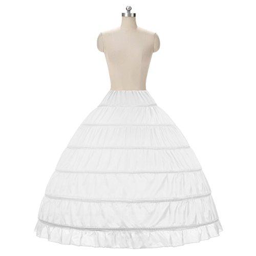 WOWBRIDAL Women 6 Hoops Skirt Crinoline Petticoats Slips Floor Length for Bridal Gown White ()
