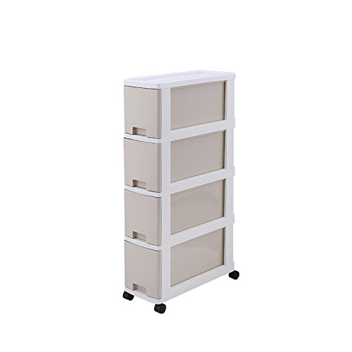 Chinashow 7-Inch by 18-Inch by 32-Inch 4 Drawer Organizer Cart, Crevice cabinet (Beige)