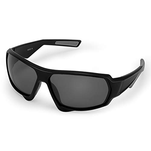 CHEREEKI Sports Sunglasses, Eyewear Polarized Glasses with UV400 Protection & TR90 Unbreakable Frame Outdoor Sunglass for Men Women Unisex Cycling Running Fishing Golf Driving Camping (Black&Gray)