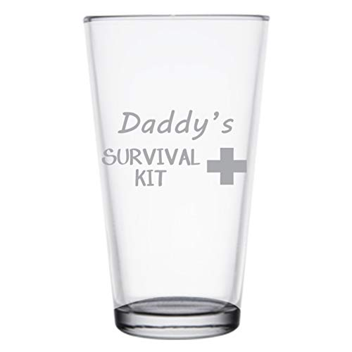 Daddy's Survival Kit, Funny 16 oz Pint Glass, Permanently Etched, Gift for Dad, Co-Worker, Friend, Boss, Christmas, New Dad Gift, First Father's Day, PG14