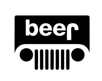 Beer Jeep Logo PREMIUM Decal 5 inch White | Wrangler | Rubicon | Cherokee | 4x4 | Offroad Buck | Uncle Si | Huntin & fishin | Redneck | Outdoors | car truck van laptop macbook bumper sticker