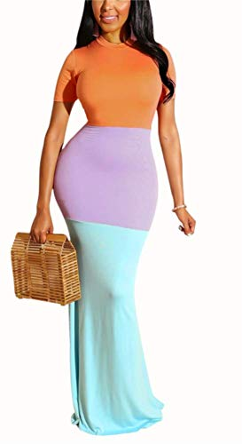 Womens Short Sleeve Party Dresses Beach Color Block Splice Cocktail Maxi Dress Orange