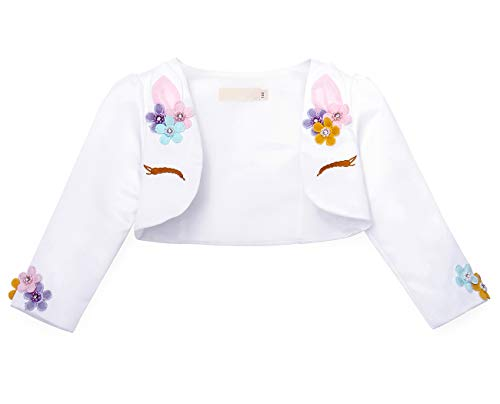 Cotrio Flower Girls Bolero Shrug Kids Long Sleeve Jacket Evening Gowns Wedding Party Princess Unicorn Dress Blazer Coat Halloween Costumes Size 6T (130, 5-6Years)