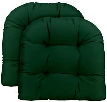 Resort Spa Home Decor Set of 2 – Universal Tufted U-Shape Cushions for Wicker Chair Seat – Solid Hunter Dark Green – Indoor Outdoor