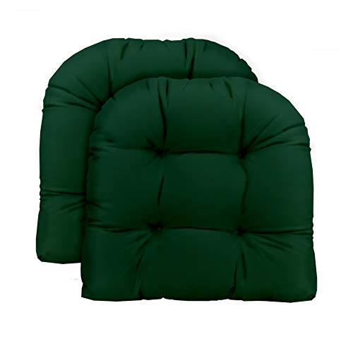 Set of 2 – Universal Tufted U-shape Cushions for Wicker Chair Seat – Solid Hunter Dark Green – Indoor Outdoor