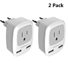 Product Description:2 USB charging portsMax load: 10AInput Voltage: 100V-250V, 50/60HzPower rating: 2500WUSB output: 5VDC/2.4A (Total)Material: Fireproof materialProduct Dimension: 2.8*2.3*2.6 inNote: This adapter does NOT Convert Voltage. Ma...